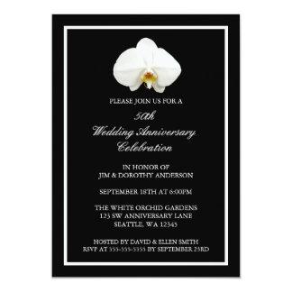 Aniversário de casamento branco elegante da convite 12.7 x 17.78cm