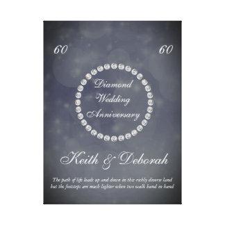 Aniversário de casamento customizável do diamante impressão em canvas