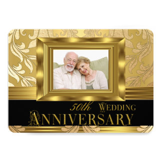 Aniversário de casamento da foto 50th do damasco convite 12.7 x 17.78cm