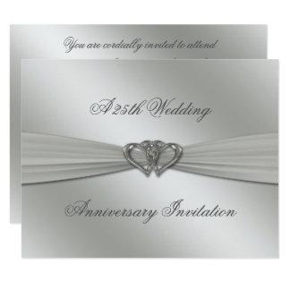 Aniversário de casamento da prata clássica o 25o convite 10.79 x 13.97cm