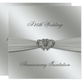 Aniversário de casamento da prata clássica o 25o convite quadrado 13.35 x 13.35cm