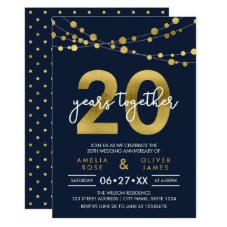Aniversário de casamento das luzes elegantes azuis convite 12.7 x 17.78cm