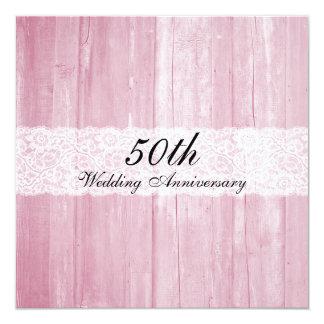 Aniversário de casamento de madeira do vintage do convite quadrado 13.35 x 13.35cm