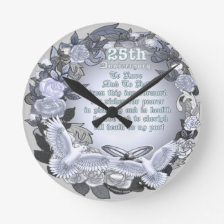 Aniversário de casamento de prata relógio redondo