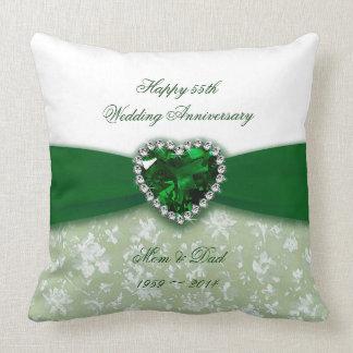 Aniversário de casamento do damasco 55th almofada