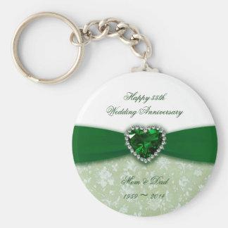 Aniversário de casamento do damasco 55th chaveiro