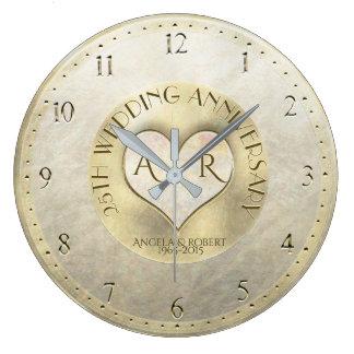 Aniversário de casamento do monograma do coração relógio grande