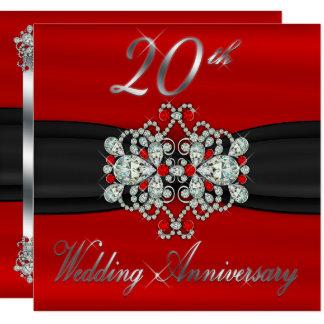 Aniversário de casamento dos rubis elegantes dos convite quadrado 13.35 x 13.35cm