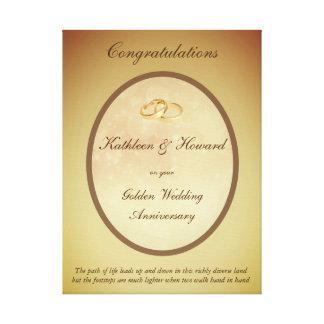 Aniversário de casamento dourado customizável impressão em canvas