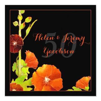 Aniversário de casamento dourado floral vermelho convite quadrado 13.35 x 13.35cm