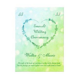 Aniversário de casamento esmeralda customizável impressão em canvas