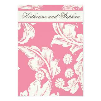 aniversário de casamento floral cor-de-rosa convite 12.7 x 17.78cm