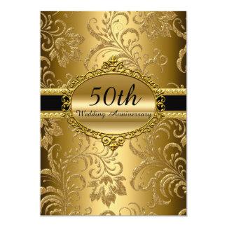 Aniversário de casamento floral do ouro o 50th convite 12.7 x 17.78cm