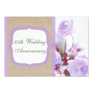 Aniversário de casamento roxo de serapilheira da convite personalizado