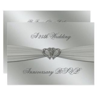 Aniversário de casamento RSVP da prata clássica Convite 8.89 X 12.7cm
