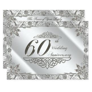 Aniversário de casamento RSVP do diamante 60th do Convite 8.89 X 12.7cm