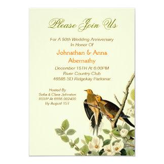 aniversário de casamento vintage dos pássaros do convite 12.7 x 17.78cm