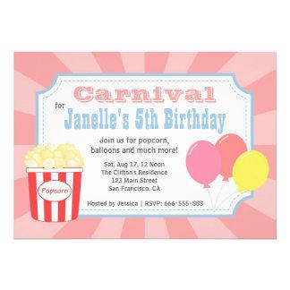 Aniversário de criança - carnaval com pipoca & bal convites personalizados