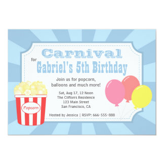 Aniversário de criança - carnaval com pipoca & convite 12.7 x 17.78cm