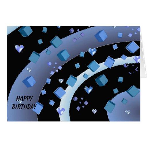 Aniversário de flutuação dos corações e dos cubos cartões