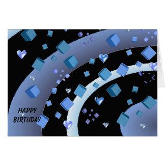 Aniversário de flutuação dos corações e dos cubos cartão comemorativo
