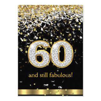Aniversário de prata B das flâmulas 60th 60 do Convite 12.7 X 17.78cm