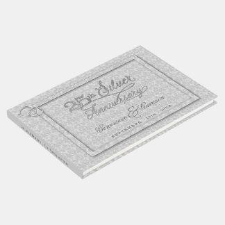 Aniversário de prata do damasco cinzento 25o com livro de visitas