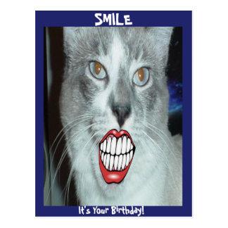 Aniversário de sorriso do gato cartão postal