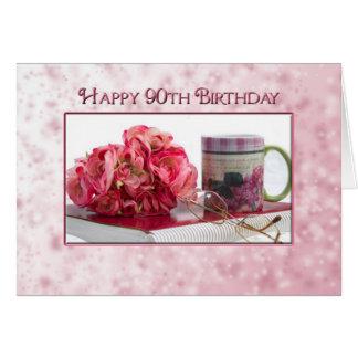 aniversário do 90 - fêmea - rosa da guloseima cartão comemorativo