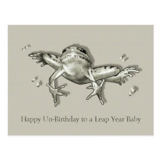 Aniversário do ano de pulo, pulando o sapo, arte d cartão postal