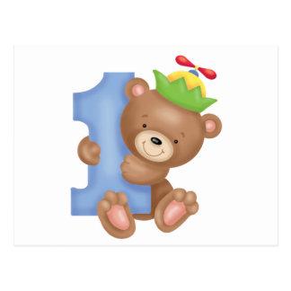 Aniversário do bebê 1 ano - ursinho cartão postal