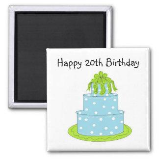 Aniversário do bolo azul das bolinhas 20o ímã quadrado