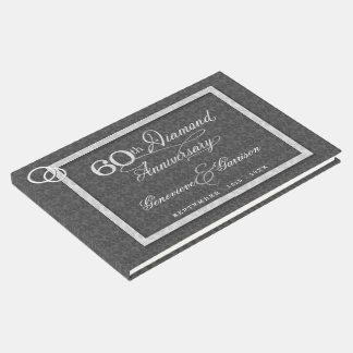 Aniversário do diamante do carvão vegetal 60th com livro de visitas