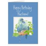 Aniversário do marido, papagaios românticos bonito cartões