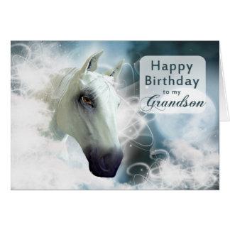 Aniversário do neto, cavalo árabe do espírito cartao