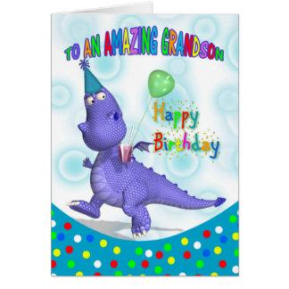 Aniversário do neto com dragão roxo cartão comemorativo