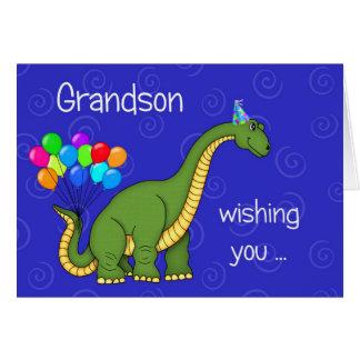 Aniversário do neto do dinossauro cartão comemorativo