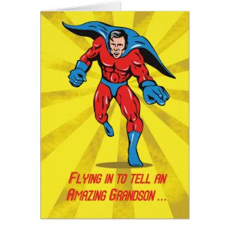 Aniversário do neto do super-herói de Caped 8o Cartão Comemorativo