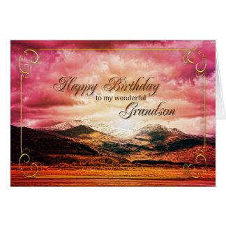 Aniversário do neto, por do sol sobre as montanhas cartões