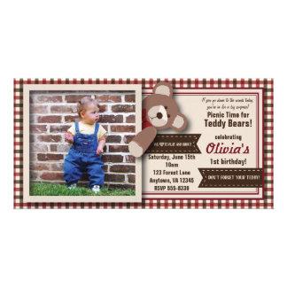 Aniversário do piquenique do urso de ursinho - cartão com foto