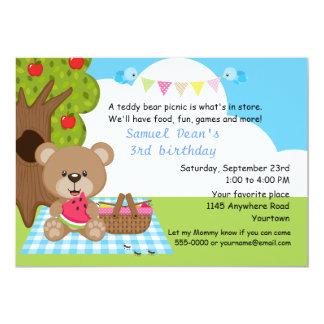 Aniversário do piquenique dos meninos do urso de convite 12.7 x 17.78cm
