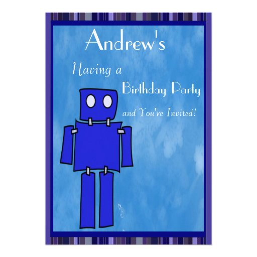 Aniversário do robô 5o convite personalizados