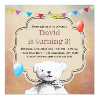 Aniversário do urso de ursinho do Stipple do Convite Quadrado 13.35 X 13.35cm