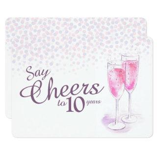Aniversário dos vidros do champanhe da aguarela convite 12.7 x 17.78cm