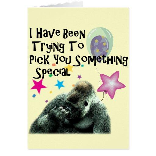 Aniversário engraçado do humor do gorila cartoes