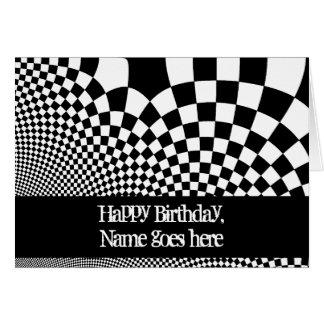 Aniversário entortado preto e branco do tabuleiro cartão