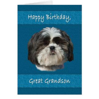 Aniversário, excelente - neto, cão de Shih Tzu Cartão Comemorativo