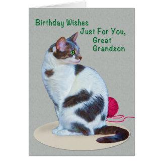 Aniversário, excelente - neto, cartão Verde-Eyed d