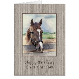Aniversário, excelente - neto, cavalo de Brown com Cartao