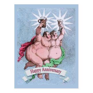 Aniversário feliz alegre cartão postal